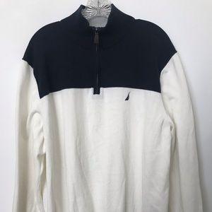 Nautica   Cotton Knit 1/4 Zip Pullover Sweater
